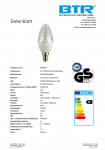 20er Set LED Leuchtmittel BT9400SI C37, 6W, 470lm, E14, Dimmbar, Energiesparlampe 2